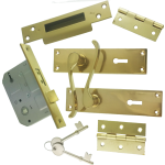 Victorian Scroll Brass-Ware 5-Lever Lock Pack
