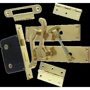 Victorian Scroll Brass-Ware Bathroom Lock Pack