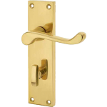 Victorian Scroll Lever Polished Brass Bathroom Lock Handles