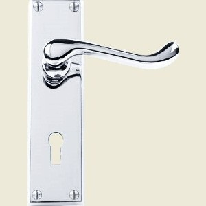 Victorian Scroll Polished Chrome Door Handles