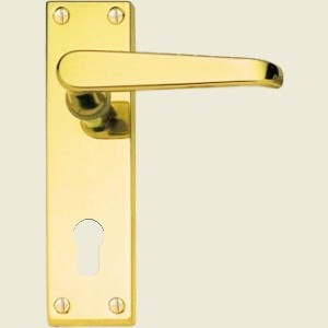 Victorian Straight Lever Polished Brass Euro Lock Handles