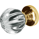 JH5202 Polished Brass Crystal Pumpkin Door Knob Set