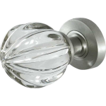 JH5202 Satin Chrome Crystal Pumpkin Door Knob Set