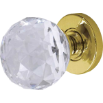 JH5255 Polished Brass Crystal Faceted Door Knob Set