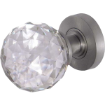 JH5255 Satin Chrome Crystal Faceted Door Knob Set