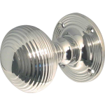JR6M Polished Chrome Reeded Door Knob Set