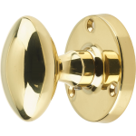 JV34 Architectural Quality Polished Brass Oval Door Knob Set