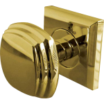 JV74 Polished Brass Square Door Knob Set