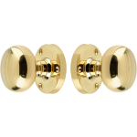 Architectural Quality Mushroom Door Knob Set Polished Brass