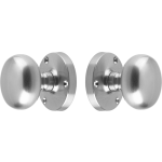 Architectural Quality Mushroom Door Knob Set Satin Chrome