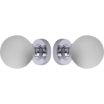Frosted Glass Ball Door Knob Set Polished Chrome Rose