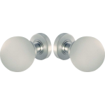 Satin Chrome Frosted Glass Ball Door Knob Set
