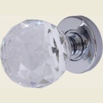 JH5255 Polished Chrome Crystal Faceted Door Knob Set