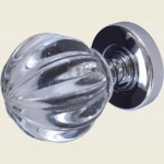 JH5202 Polished Chrome Crystal Pumpkin Door Knob Set
