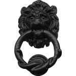 178mm Rustic Lion Door Knocker Black Antique