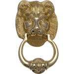 Lion Head Door Knocker Polished Brass