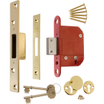 67mm 5 lever BS Fortress Deadlock Polished Brass