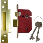 65mm Fortress BS 5 Lever Mortice Sashlock Brass