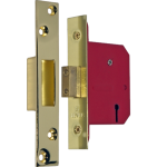 80mm 5 Lever Mortice Deadlock Polished Brass