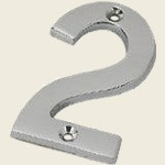 2 Satin Chrome Number Two Door Numeral