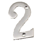 2 Polished Chrome Number Two Door Numeral