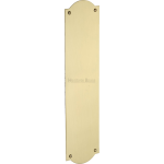 30cm Shaped Finger Plate Door Push Satin Brass