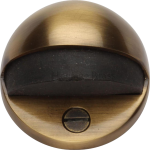 Oval Shielded Floor Mounted Door Stop Antique Brass