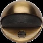 Oval Shielded Floor Mounted Door Stop Antique Brass