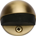 Oval Shielded Floor Mounted Door Stop Satin Brass