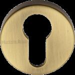 45mm Round Euro Profile Lock Escutcheon Antique Brass