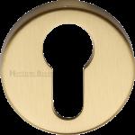 45mm Round Euro Profile Lock Escutcheon Satin Brass