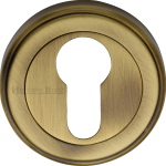 50mm Round Euro Profile Lock Escutcheon Antique Brass