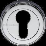 50mm Round Euro Profile Lock Escutcheon Polished Chrome