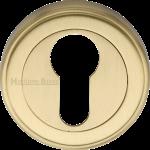 50mm Round Euro Profile Lock Escutcheon Satin Brass