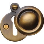 33mm Round Covered Keyhole Escutcheon Antique Brass