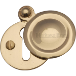 33mm Round Covered Keyhole Escutcheon Polished Brass