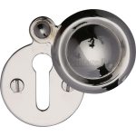33mm Round Covered Keyhole Escutcheon Polished Nickel