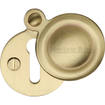 33mm Round Covered Keyhole Escutcheon Satin Brass