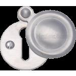 33mm Round Covered Keyhole Escutcheon Satin Chrome