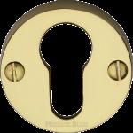 45mm Round Euro Profile Lock Escutcheon Polished Brass