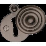 33mm Reeded Round Covered Keyhole Escutcheon Matt Bronze