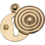 33mm Reeded Round Covered Keyhole Escutcheon Polished Brass