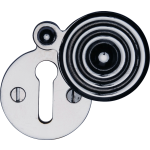 33mm Reeded Round Covered Keyhole Escutcheon Polished Chrome