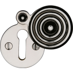 33mm Reeded Round Covered Keyhole Escutcheon Polished Nickel