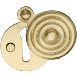 33mm Reeded Round Covered Keyhole Escutcheon Satin Brass