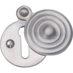 33mm Reeded Round Covered Keyhole Escutcheon Satin Chrome