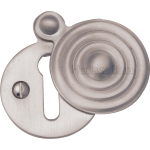 33mm Reeded Round Covered Keyhole Escutcheon Satin Nickel