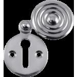 Designer Reeded Covered Keyhole Escutcheon Polished Chrome