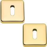 Lugano Open Standard Keyhole Escutcheons Polished Brass