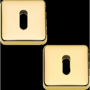 Lugano Open Standard Keyhole Escutcheons Polished Brass